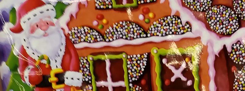 Schokoladen Plätzchen mit Lebkuchenhaus Motiv